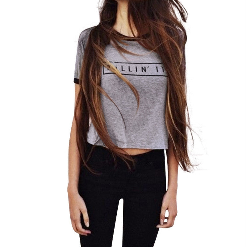 Killin It Letter Print Fashion Women Summer Top Letter Print Casual T shirt 2016 Sexy Slim Funny Top Tee  Short Sleeve Shirts - youandbeautifulpeople