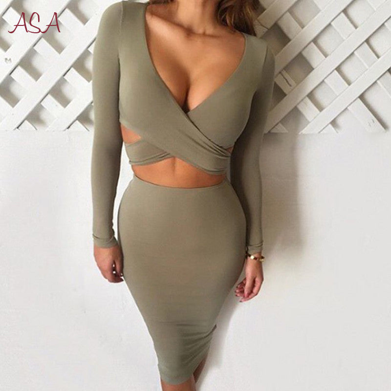 Blue Black White Long Sleeve Elastic Cotton Warm Winter Elegant Party Dresses 2016 Sexy Midi Pencil Club Bandage Bodycon Dress - youandbeautifulpeople