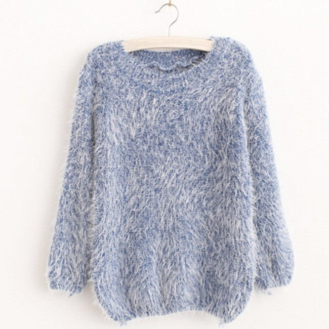 Winter Warm Mohair O-Neck Women Pullover - youandbeautifulpeople