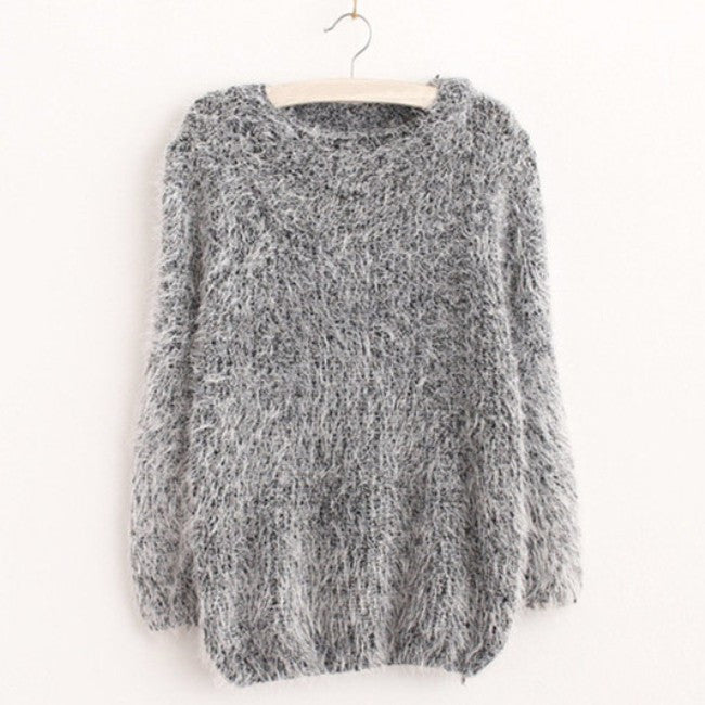 Winter Warm Mohair O-Neck Women Pullover