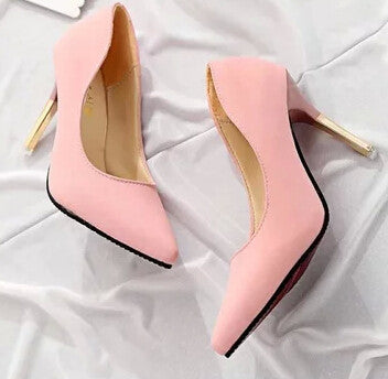 elegant shallow mouth pointed toe high-heeled shoes
