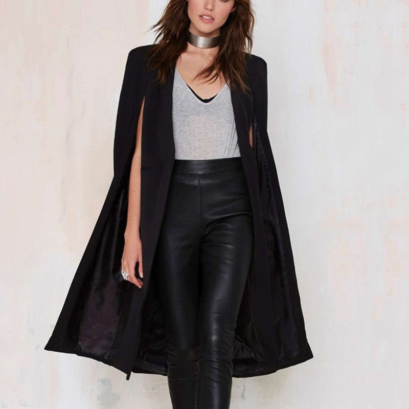 Split Long Sleeve Casual Cape Suit Blazer - youandbeautifulpeople
