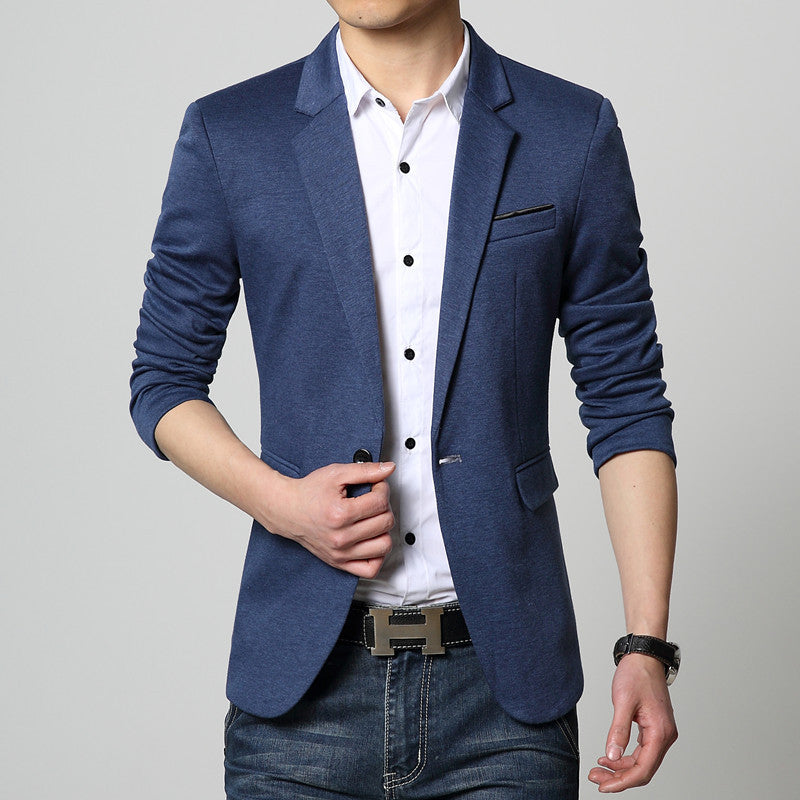 Fit Casual Cotton Men Blazer - youandbeautifulpeople