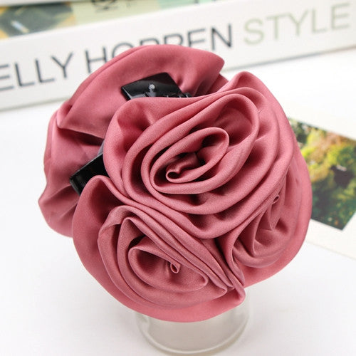 Ribbon Rose Flower Bow Jaw Clip + FREE SHIPPING - youandbeautifulpeople