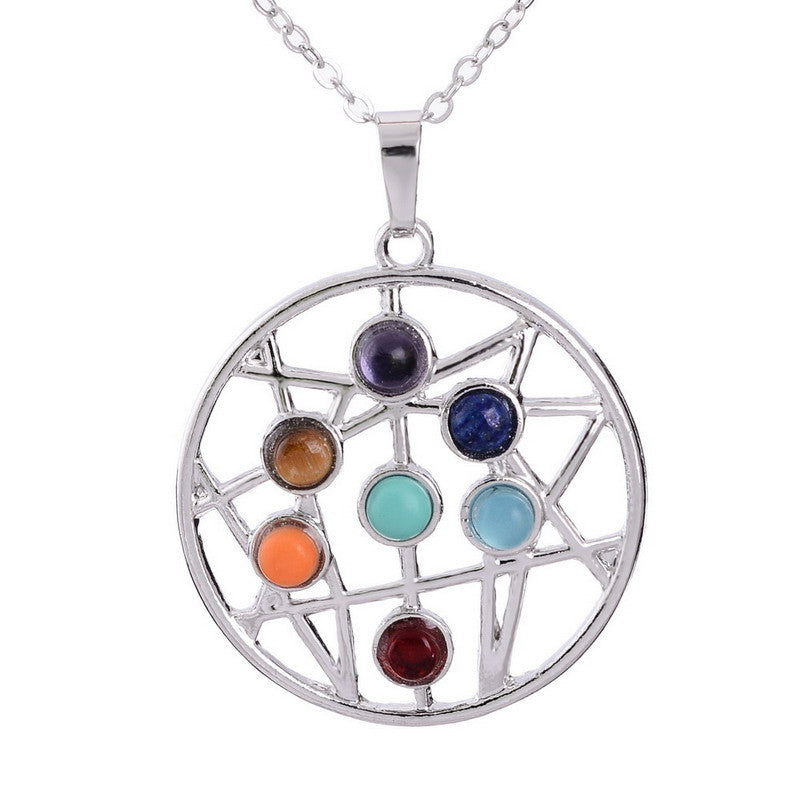 7 Chakra Healing Crystal Reiki Natural Stone Yoga Necklace +FREE SHIPPING