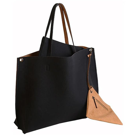 Reversible Vegan Leather Tote Black/Tan | Women in Business Laptop Bags | Branford, Connecticut