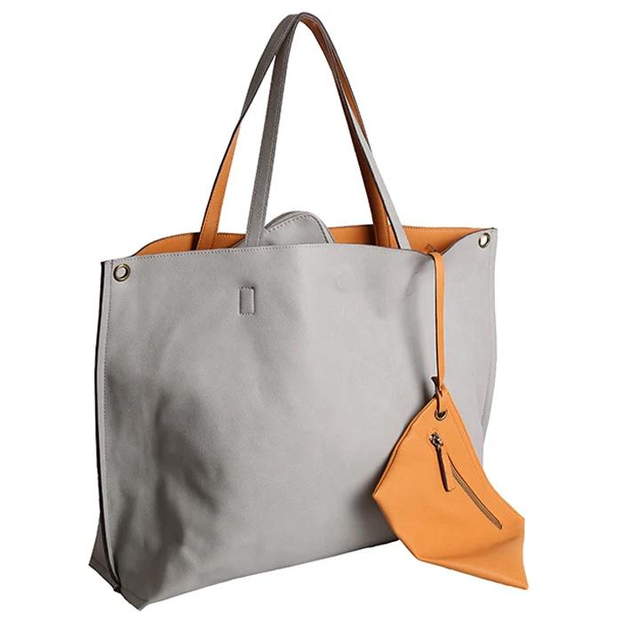 Reversible Vegan Leather Tote Gray/Tan | Women in Business Laptop Bags | Branford, Connecticut