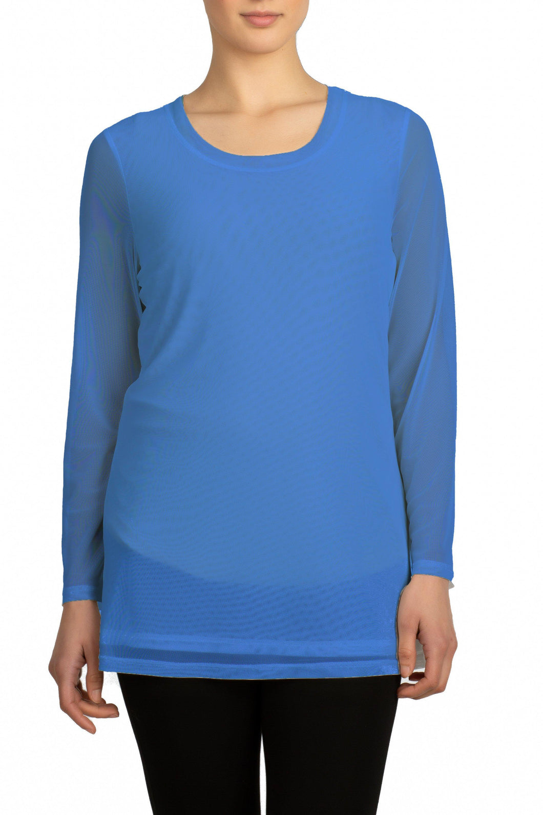 Mesh Long Sleeve Top (Blue)