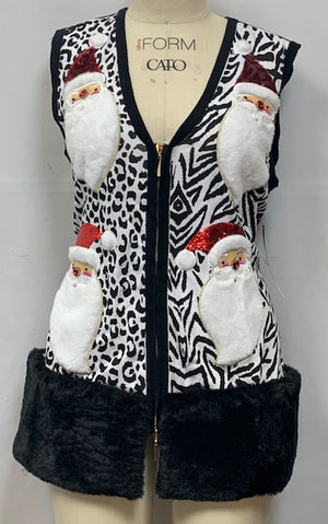L45030M - SANTAS JUNGLE VEST- NO FUR (Black White)