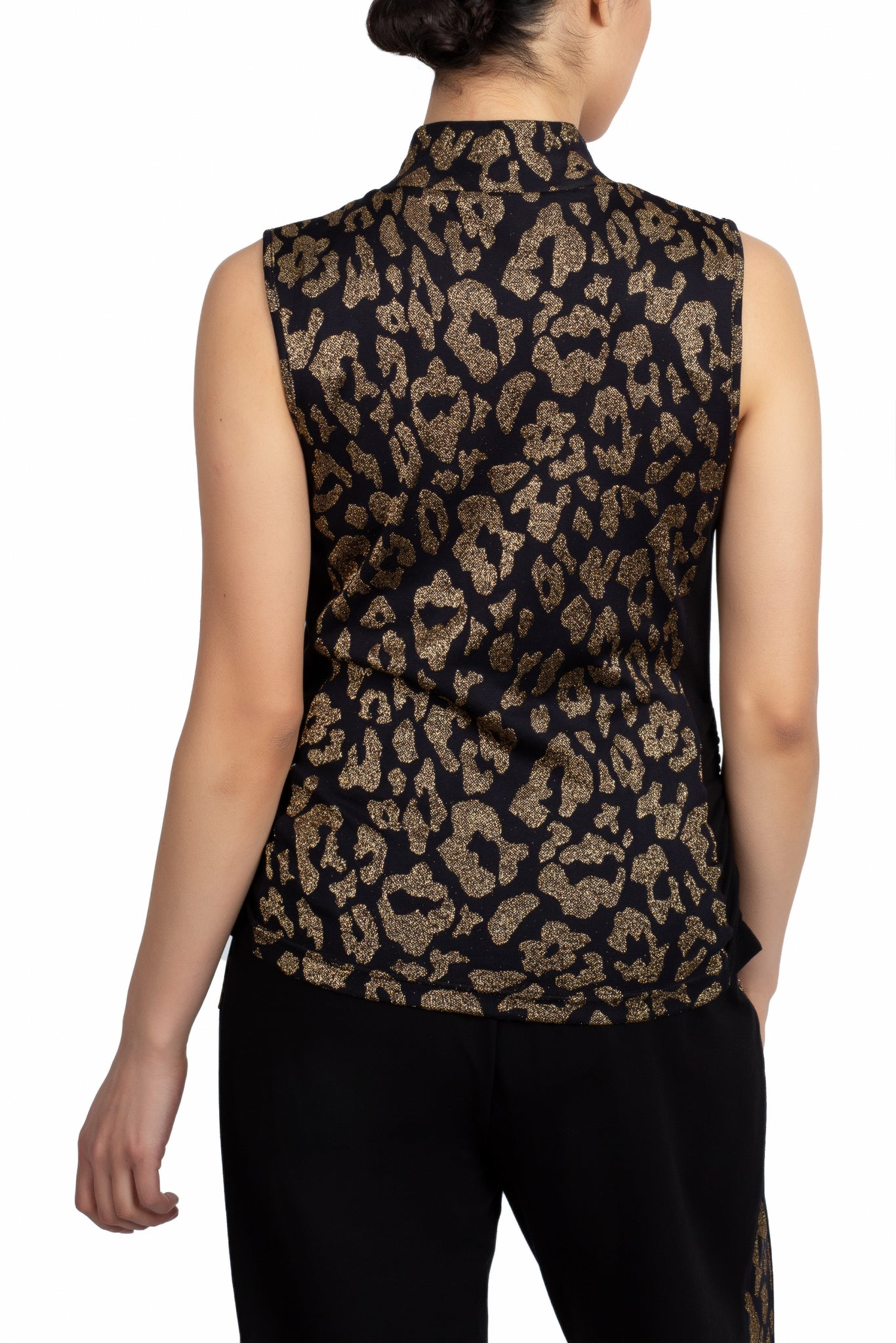 Sparkling Leopard Mock Neck Tank* (Black Gold)