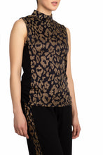Load image into Gallery viewer, Sparkling Leopard Mock Neck Tank* (Black Gold)