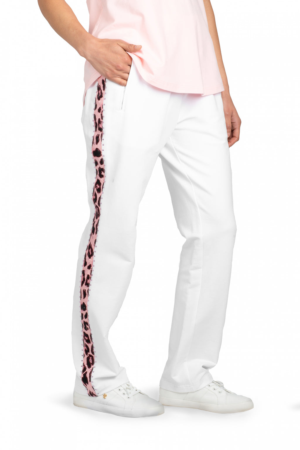 Weekend Pant w Animal Trim (White)
