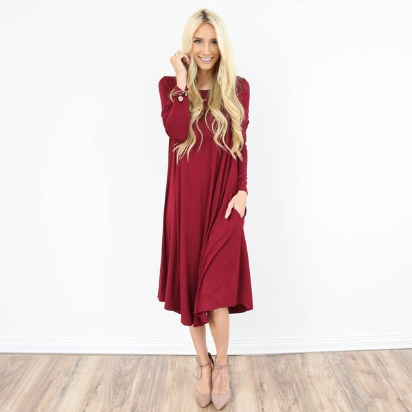 Iva Pocket Dress in Burgundy