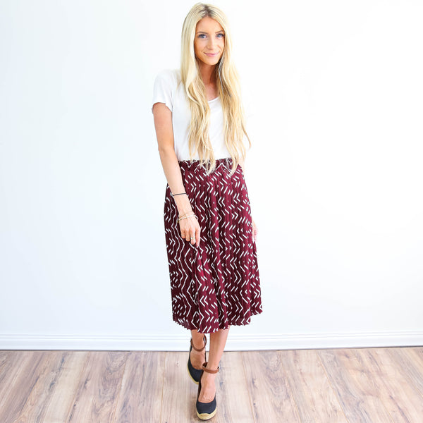 Lucy Pleated Midi Skirt