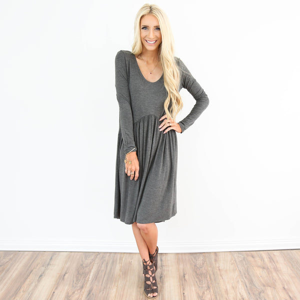 Lua Babydoll Dress in Dark Grey