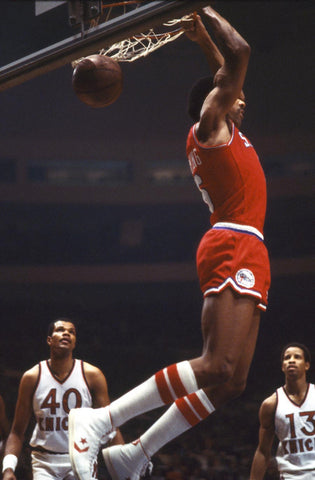 Dr J dunks behind his head