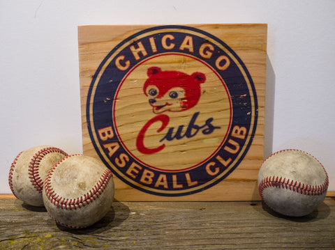 Chicago Cubs Wooden Sign Small