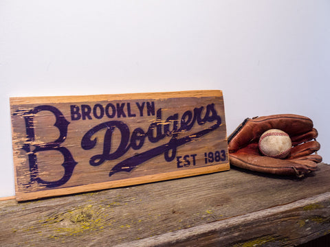 Brooklyn Dodgers Wooden Sign