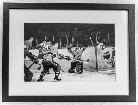 The Gumper Makes the Save and JC Balances the Puck - Framed Print