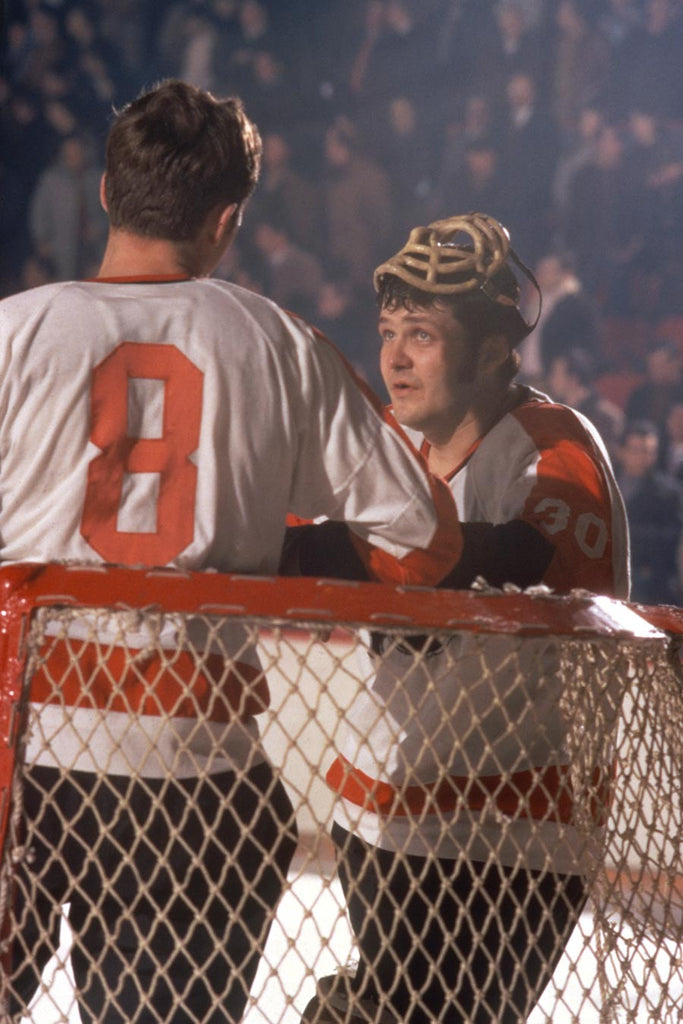 Bernie Parent Chats with a Teammate