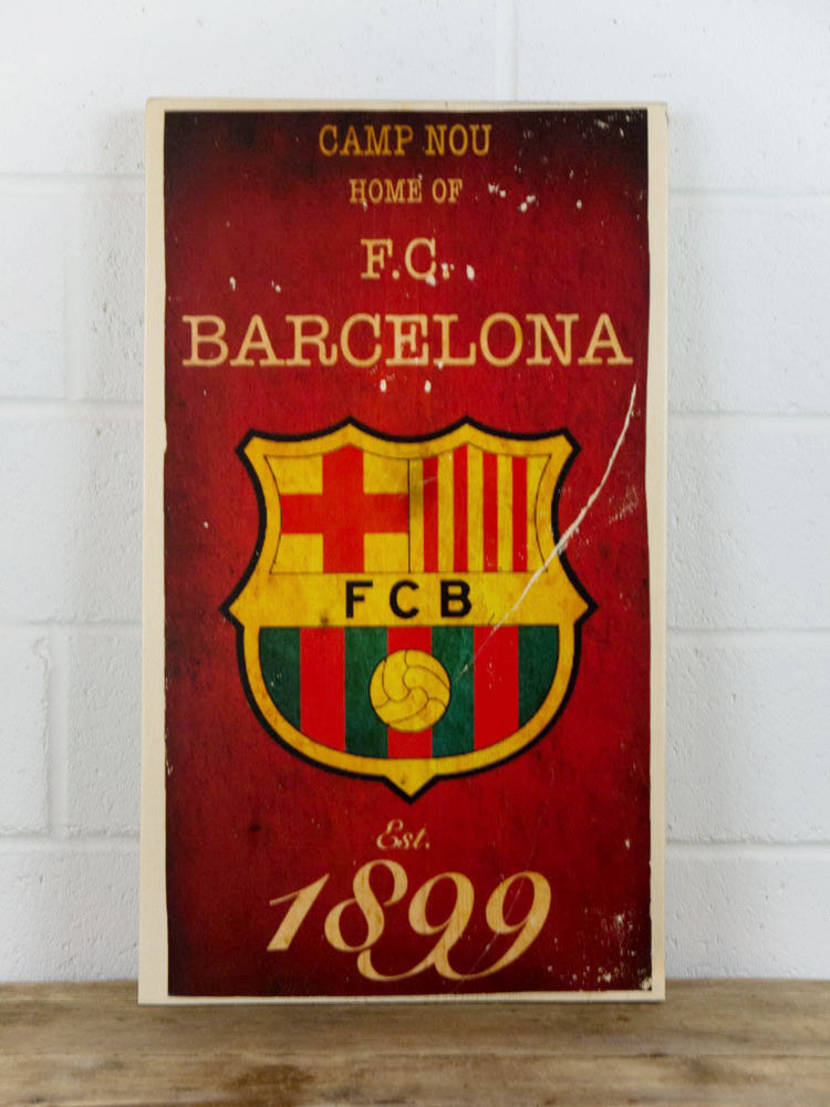 Barcelona Football Club Wooden Sign