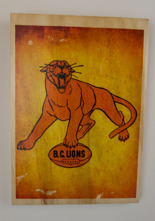 BC Lions Wooden Sign