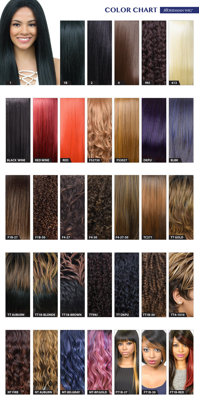 Bohemian Wig Color Chart