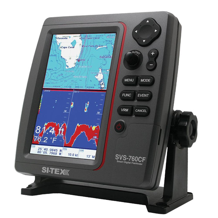 SI-TEX SVS-760CF Dual Frequency Chartplotter-Sounder w- Navionics+ Flexible Coverage