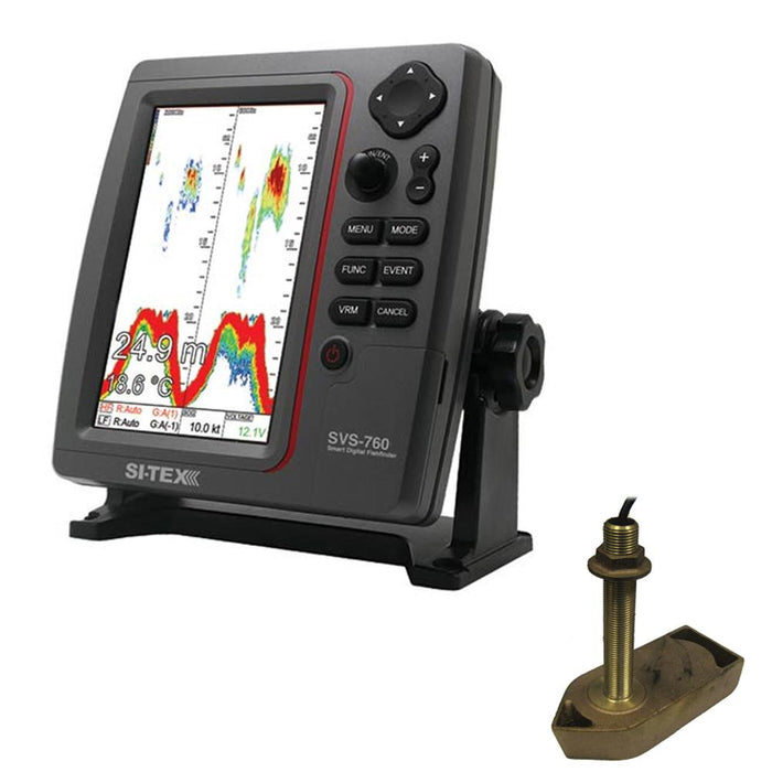 SI-TEX SVS-760 Dual Frequency Sounder 600W Kit w-Bronze Thru-Hull Temp Transducer - 307-50-200T-CX
