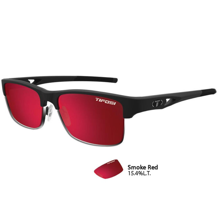 Tifosi Highwire Matte Black Swivelink Sunglasses - Smoke Red