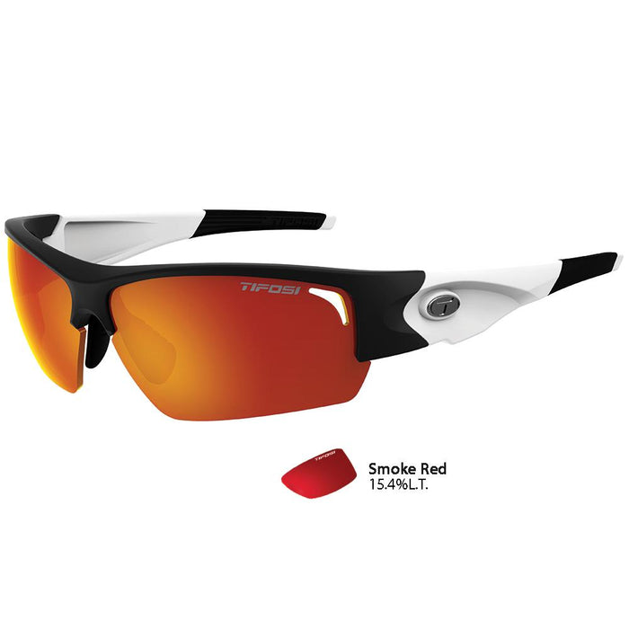 Tifosi Lore SL Black-White Single Lens Sunglasses - Smoke Red