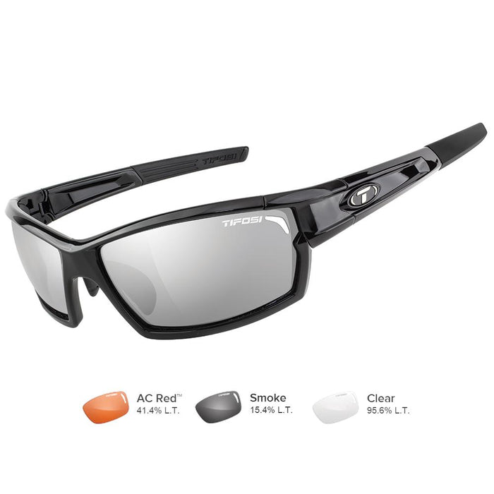Tifosi Camrock Gloss Black Interchangeable Sunglasses - Smoke-AC Red™-Clear