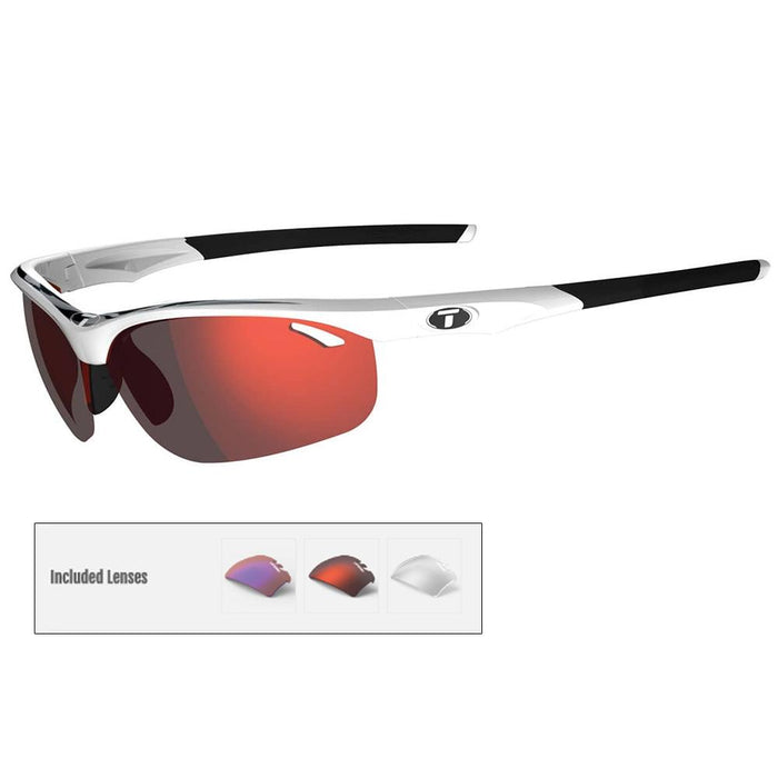 Tifosi Veloce Interchangeable Lens Sunglasses - White-Black - Clarion Red-AC Red™-Clear