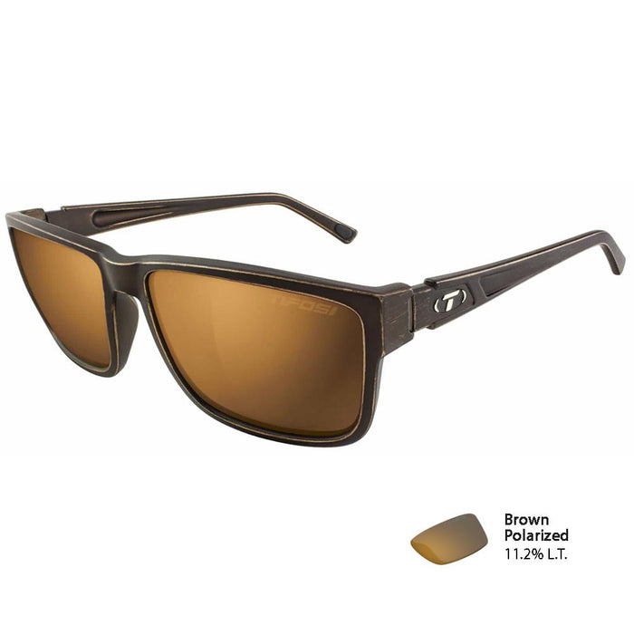 Tifosi Hagen XL 2.0 Distressed Bronze Polarized Sunglasses - Brown Polarized