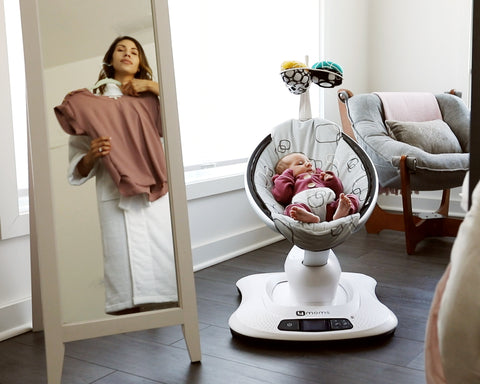Woman and baby with MamaRoo