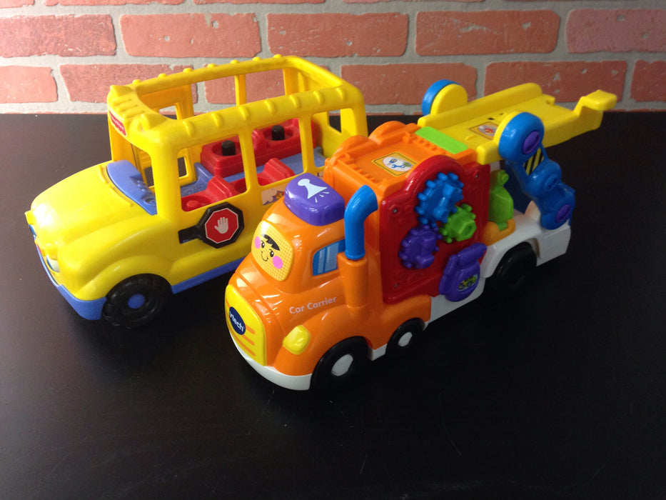 VTech Car Carrier and Fisher Price Little People School Bus — Good ...
