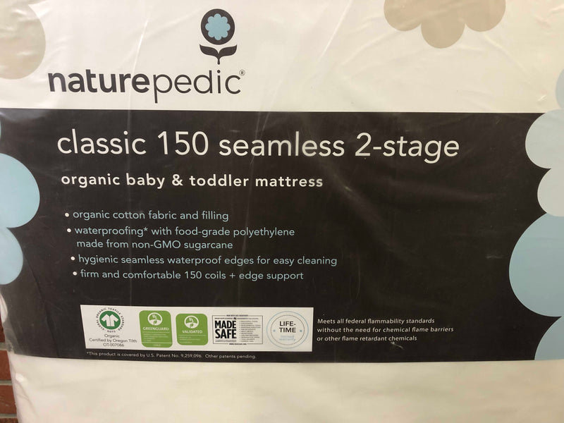 secondhand Naturepedic Classic 150 Seamless 2-stage Organic Baby & Toddler Mattress