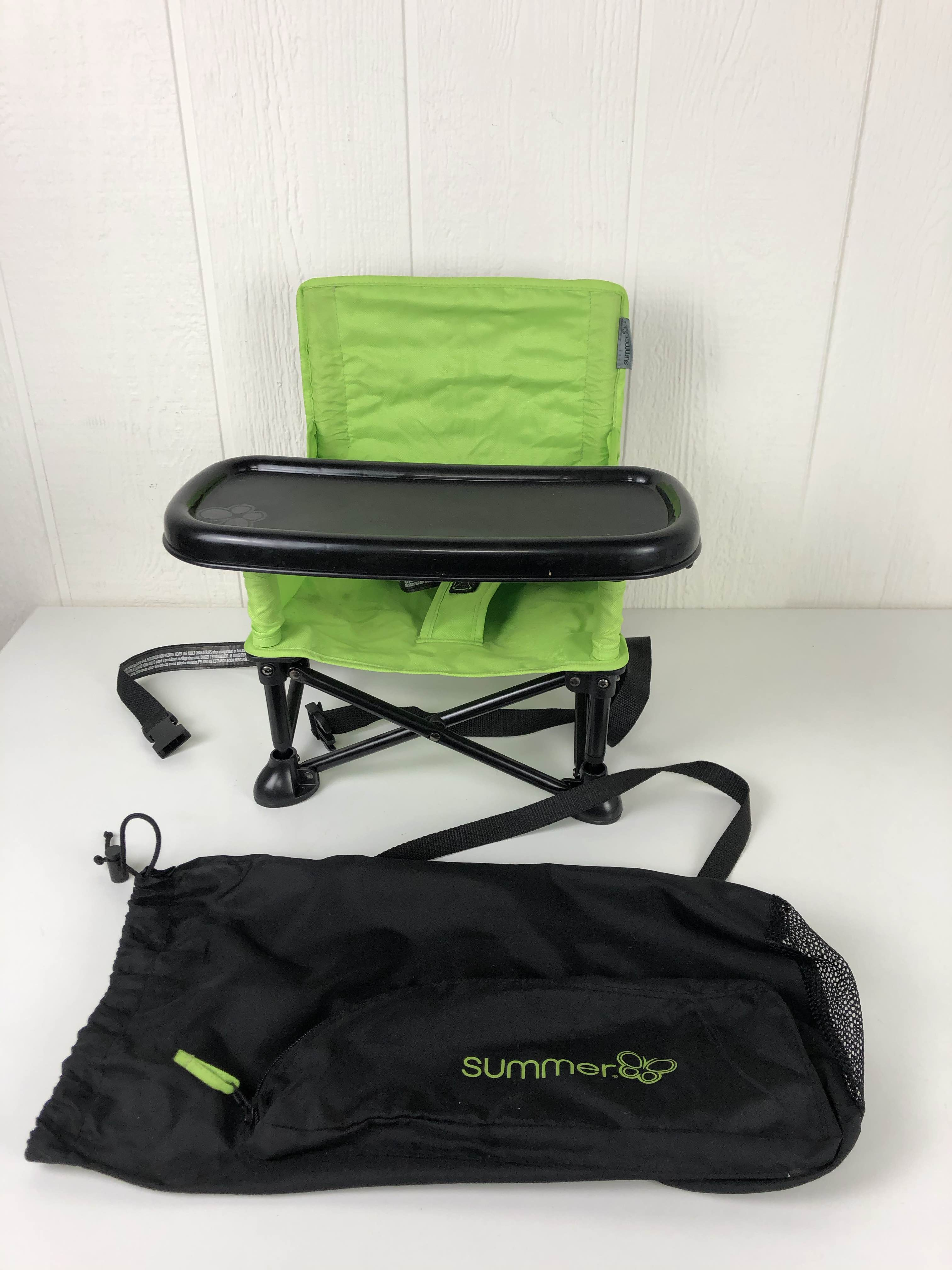 Summer Infant Pop And Sit Portable Booster Green//Grey
