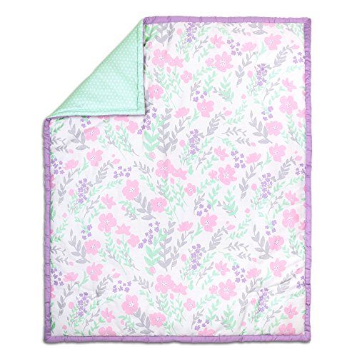 The Peanut Shell Floral Quilt, Purple/Mint