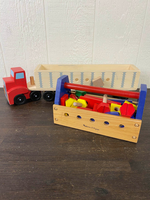Melissa & Doug Take-Along Tool Kit Wooden Toy And Big Rig Building Set