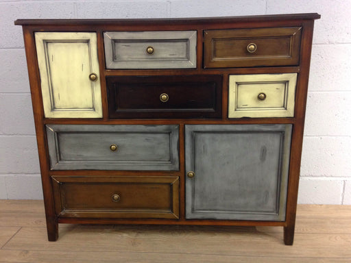 Distressed Multi Colored Credenza Chest Of Drawers