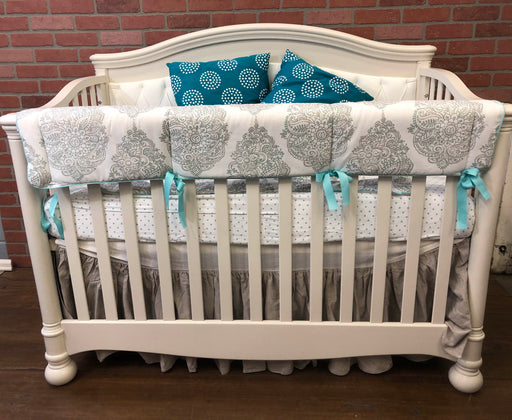 Natart Avalon 5-in-1 Convertible Crib With Tufted Panel, Linen, 2016