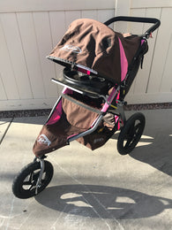BOB Revolution Stroller with Swivel Wheel and Cup Holder, Pink and Brown