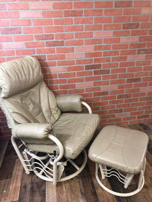 Relax R Leather Swivel Glider And Ottoman ...