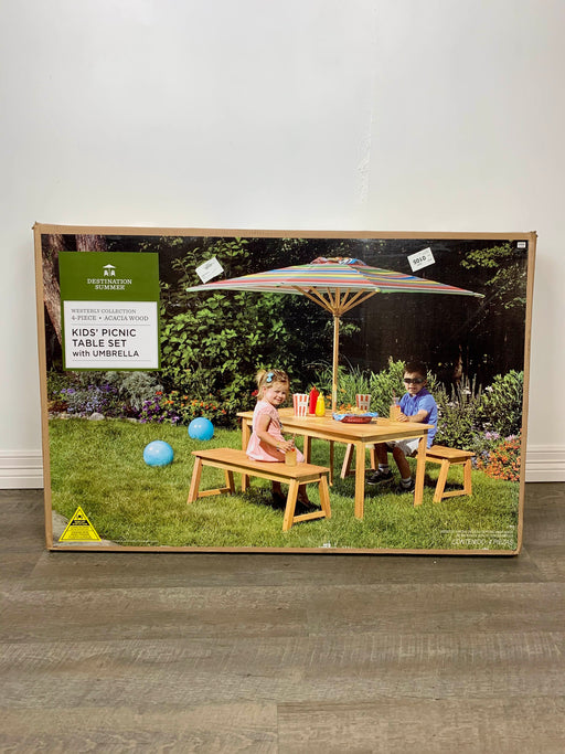 used Destination Summer Kids' Picnic Table Set With Umbrella