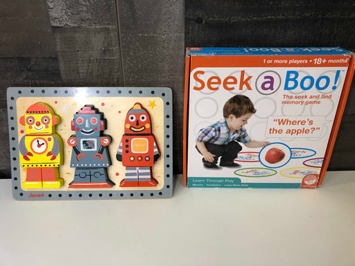 MindWare Seek-a-Boo Game And Janod Wooden Robot Puzzle