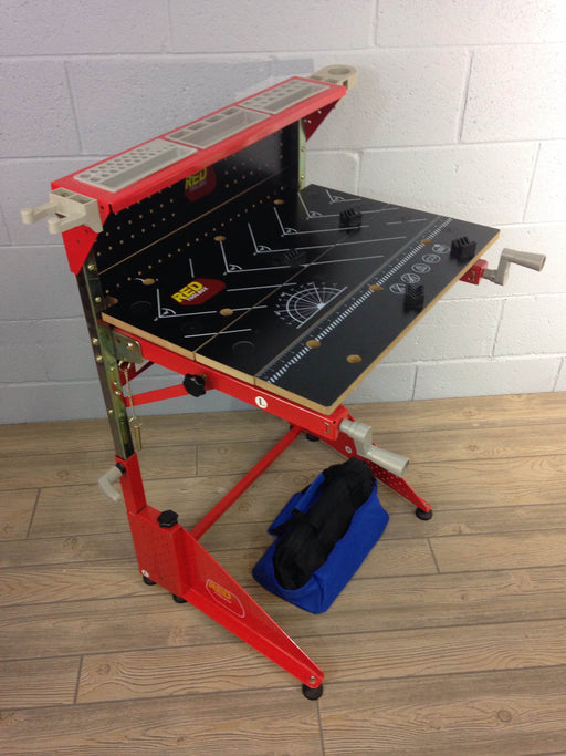 Red Toolbox Kid's Work Bench And Grip Tools