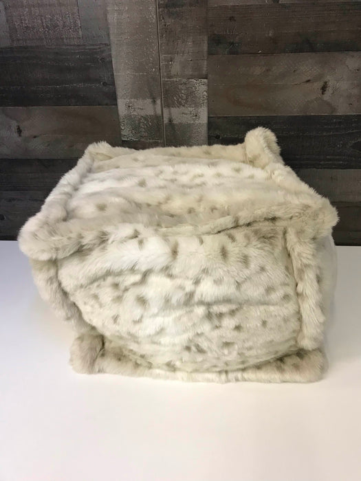 365718a66 Restoration Hardware Baby   Child Luxe Faux Fur Square Pouf- Grey Snow