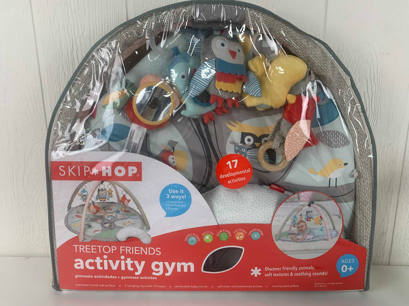 used Skip Hop Activity Gym/ Playmat, Treetop Friends, Grey/Pastel