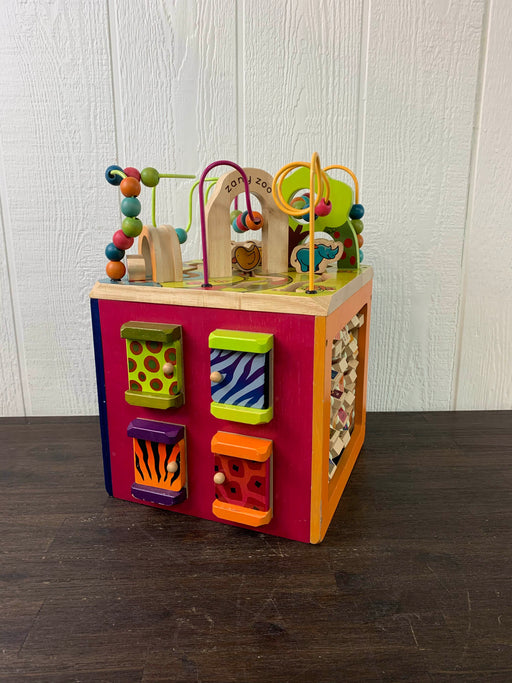 used B. Toys Zany Zoo Wooden Activity Cube